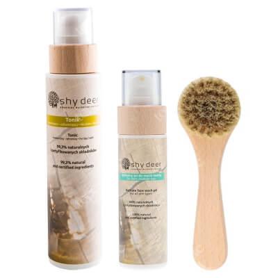 Shy Deer Face Wash Gel + Tonic + Face Clean Brush ZESTAW Żel do mycia twarzy 100 ml + Tonik 200 ml + Szczoteczka do oczyszczania i masażu 1 szt
