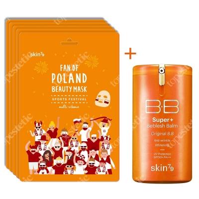 Skin79 Super+ Beblesh Balm Orange SPF 50+ PA+++ + Fan Of Poland Beauty Mask ZESTAW Krem BB z filtrem 40 g + Multiwitaminowa maska kibica 5szt.
