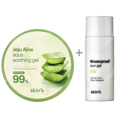 Skin79 Waterproof Sun Gel SPF 50+ PA+++ + Aloe Aqua Soothing Gel 99% ZESTAW Wodoodporny krem ochronny 50 ml + Aloesowy żel łagodzący 300 g