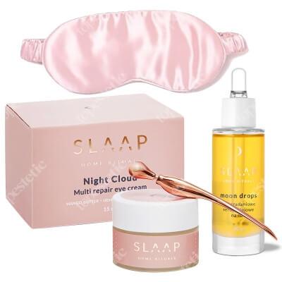 Slaap Slaap Silk Mask Rose New + Night Cloud + Moon Drops ZESTAW Jedwabna opaska na oczy do spania (różowa) 1 szt. + Krem do pielęgnacji okolic oczu 15 ml + Wielozadaniowe serum olejowe na noc 30 ml
