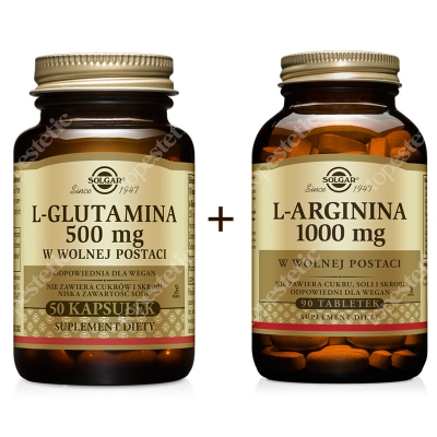 Solgar Aktywność I Regeneracja ZESTAW L-arginina 1000 mg w postaci wolnej 90 tabletek + L-glutamina 500 mg w postaci wolnej 50 kaps.