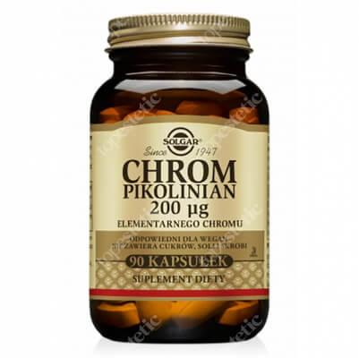 Solgar Chrom Pikolinian Zawiera 200 μg elementarnego chromu 90 kapsułek