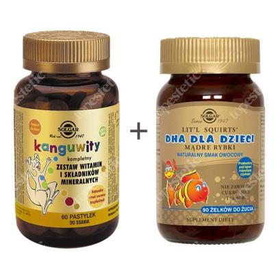 Solgar Dla najmłodszych ZESTAW Mądre Rybki 90 żelków + Kompletny zestaw witamin i składników mineralnych 60 pastylek