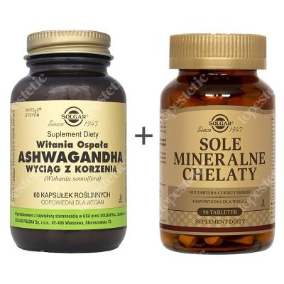 Solgar Dla Sportowców ZESTAW W postaci chelatów aminokwasowych zapewniających najlepszą wchłanialność 90 tabletek + Wyciąg z korzenia (Witania Ospała) 60 kaps.