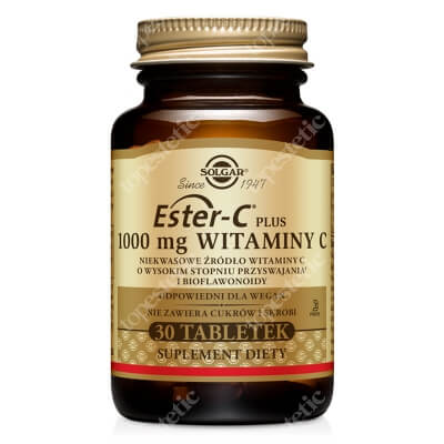 Solgar Ester C Plus – 1000 mg Witaminy C Wysoko przyswajalne niekwasowe źródło witaminy C i bioflawonoidy 30 tabletek