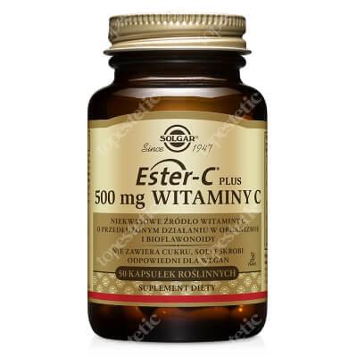 Solgar Ester-C Plus 500 mg Witaminy C Wysoko przyswajalne niekwasowe źródło witaminy C i bioflawonoidy 50 kapsułek