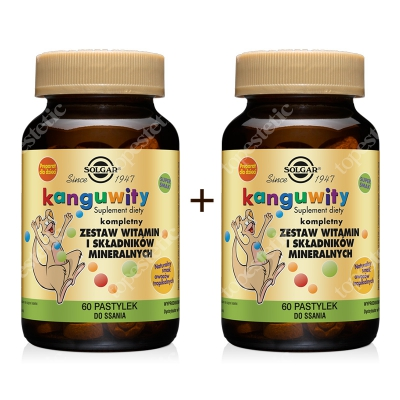 Solgar Kanguwity O Smaku Owoców Tropikalnych Dwupack ZESTAW Kompletny zestaw witamin i składników mineralnych 2 x 60 pastylek