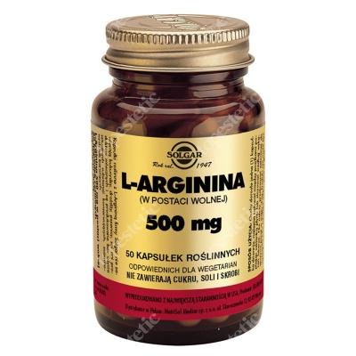Solgar L-Arginina 500 mg W postaci wolnej 50 kaps.