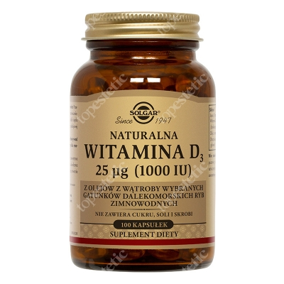 Solgar Naturalna witamina D3, 25 µg 100 kapsułek
