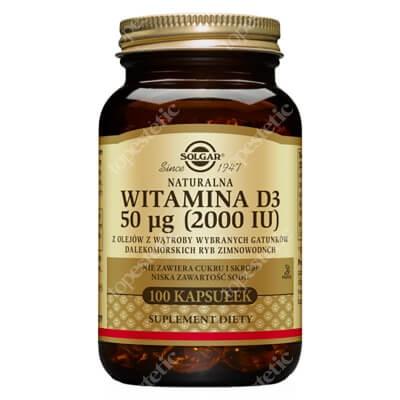 Solgar Naturalna witamina D3, 50 µg 100 kapsułek