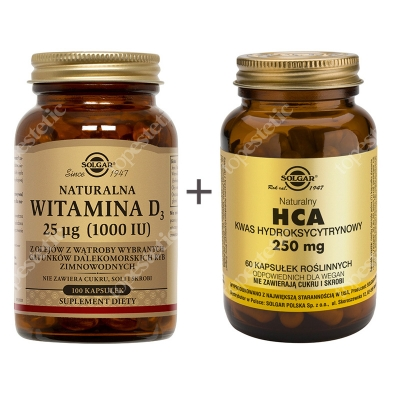 Solgar Odchudzanie ZESTAW Naturalna witamina D3, 25 µg 100 kaps. + HCA 60 kaps.