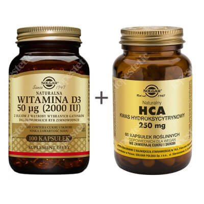 Solgar Odchudzanie ZESTAW Naturalna witamina D3, 50 µg 100 kaps. + HCA 60 kaps.