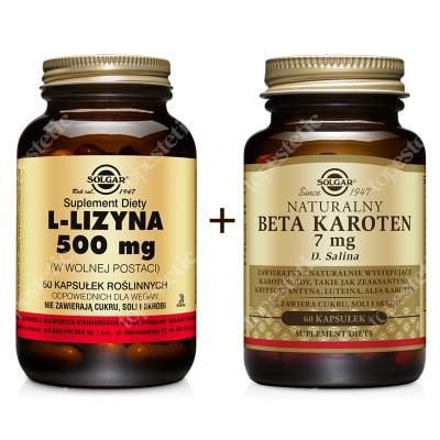 Solgar Odnowa Skóry ZESTAW L-lizyna 500 mg w postaci wolnej 50 kapsułek + Naturalny beta karoten 7 mg 60 kapsułek