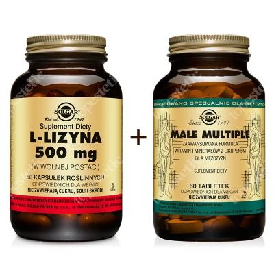 Solgar Odporność I Regeneracja ZESTAW L-Lizyna 500 mg postaci wolnej 50 kapsułek + Male Multiple witaminy i minerały dla mężczyzn 60 tabletek