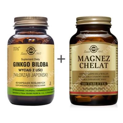 Solgar Pamięć i Koncentracja ZESTAW Wyciąg z liści Gingko Biloba 60 kaps. + Magnez chelat aminokwasowy 100 tabl.