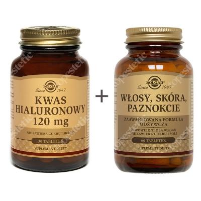 Solgar Skóra Dojrzała ZESTAW Formuła Włosy, Skóra, Paznokcie 60 tabl. + Kwas Hialuronowy 120 mg 30 tabl.