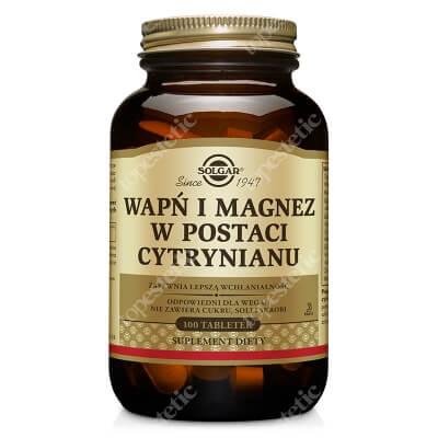 Solgar Wapń i Magnez W postaci cytrynianu zapewniającego lepszą wchłanialność 100 tabletek