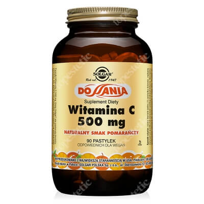 Solgar Witamina C 500 mg Pastylki do ssania, naturalny smak pomarańczy 90 pastylek