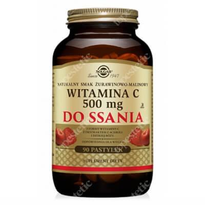 Solgar Witamina C 500 mg Pastylki do ssania, naturalny smak żurawinowo-malinowy 90 pastylek