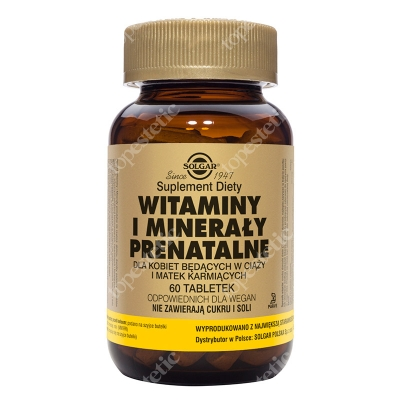 Solgar Witaminy i minerały prenatalne Dla kobiet będących w ciąży i matek karmiących 60 tabletek