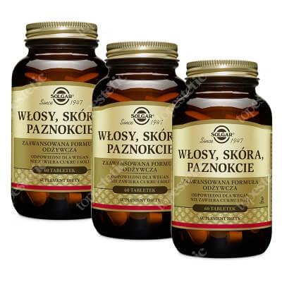 Solgar Włosy, Skóra, Paznokcie (WSP) 3 Pack ZESTAW Zaawansowana formuła odżywcza 60 tabletek x 3 szt