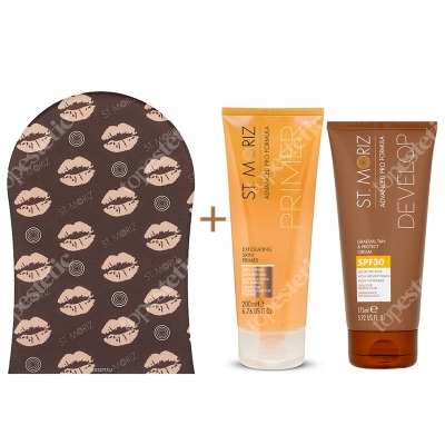 St Moriz Gradual Tan and Protect Cream + Exfoliating Skin Primer + Tanning Applicator Mitt ZESTAW Samoopalacz z filtrem przeciwsłonecznym SPF30, 175 ml + Peeling przygotowujący skórę do opalania 200 ml + Rękawica