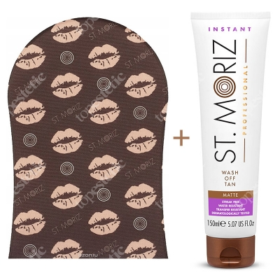 St Moriz Wash Off Tan Matte + Tanning Applicator Mitt ZESTAW Bronzer do ciała (średni matowy) 150 ml + Rękawica