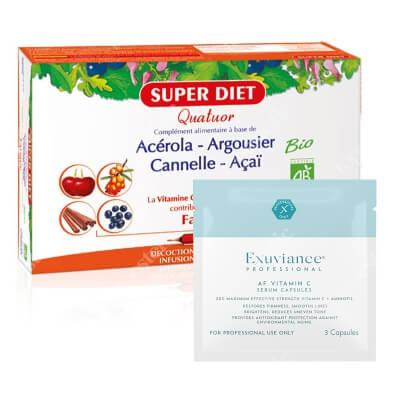 Super Diet Acerola + Exuviance Professional AF VITAMIN C Serum Capsules ZESTAW Super Diet Energia i odporność 20x15 ml + Exuviance kapsułki 3 szt