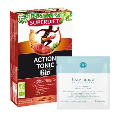 Super Diet Action Tonic + Exuviance Professional AF VITAMIN C Serum Capsules ZESTAW Super Diet witalność 20x15 ml + Exuviance kapsułki 3 szt