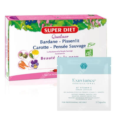 Super Diet Bardane Beaute Peau + Exuviance Professional AF VITAMIN C Serum Capsules ZESTAW Super Died piękna i czysta skóra 20x15 ml + Exuviance kapsułki 3 szt