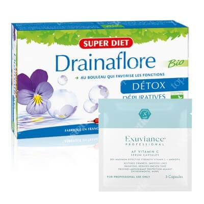 Super Diet Drainaflore Detox + Exuviance Professional AF VITAMIN C Serum Capsules ZESTAW Super Diet detoksykacja 20x15 ml + Exuviance kapsułki 3 szt