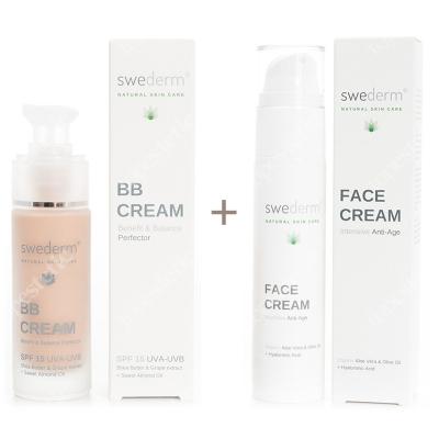 Swederm BB Cream Benefit Balance Perfector SPF 15 UVA-UVB + Face Cream Intensive Anti-Age ZESTAW Krem BB do twarzy SPF15 30 ml + Krem przeciwstarzeniowy 50 ml