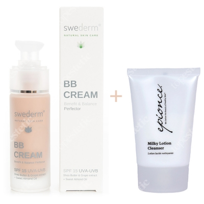 Swederm BB Cream Benefit Balance Perfector SPF 15 UVA-UVB + Milky Lotion Cleanser ZESTAW Krem BB do twarzy SPF15 30 ml + Delikatne mleczko oczyszczające 30 ml