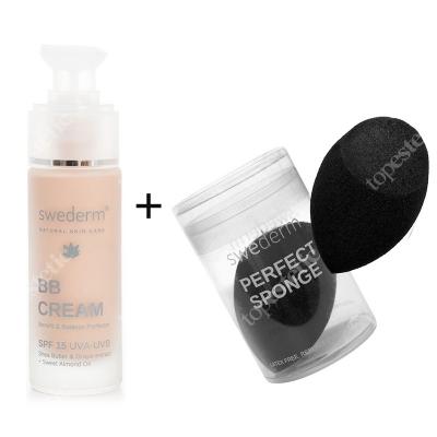 Swederm BB Cream Benefit Balance Perfector SPF 15 UVA-UVB + Perfect Sponge ZESTAW Krem BB do twarzy SPF15 30 ml + Wielofunkcyjna gąbka do makijażu 1 szt.