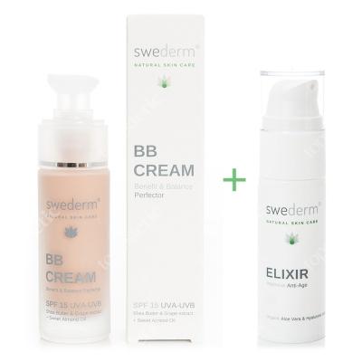 Swederm Elixir + BB Cream SPF 15 UVA-UVB ZESTAW Serum przeciwstarzeniowe i wygładzające 30 ml + Krem BB do twarzy SPF15 30 ml