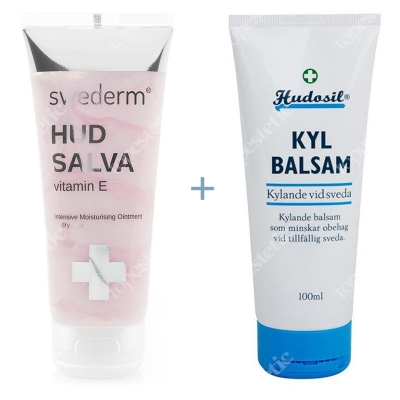 Swederm Hudsalva Vitamin E + Kyl Balsam ZESTAW Silnie natłuszczająca maść wzbogacona witaminą E 100 ml + Balsam chłodzący 100 ml