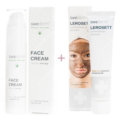 Swederm Lerosett Mineral Deep Cleanser + Face Cream Intensive Anti-Age ZESTAW Oczyszczająca maska z glinki wulkanicznej 70 ml + Krem przeciwstarzeniowy 50 ml