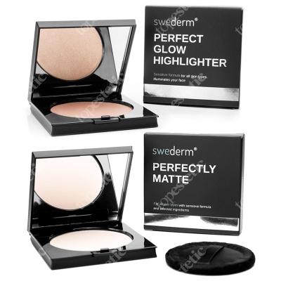 Swederm Perfect Glow + Perfectly Matte ZESTAW Rozświetlacz do twarzy 9 g + Puder matujący 9 g
