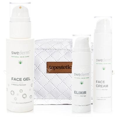 Swederm Pielęgnacja Twarzy ZESTAW Naturalny żel do twarzy 3w1 125 ml + Serum przeciwstarzeniowe i wygładzające 30 ml + Krem przeciwstarzeniowy 50 ml + Kosmetyczka