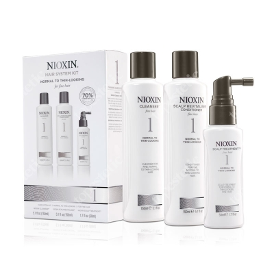 Nioxin System 1 ZESTAW pielęgnacyjny przeciw wypadaniu (włosy cienkie, lekko przerzedzone) 150, 150, 50 ml