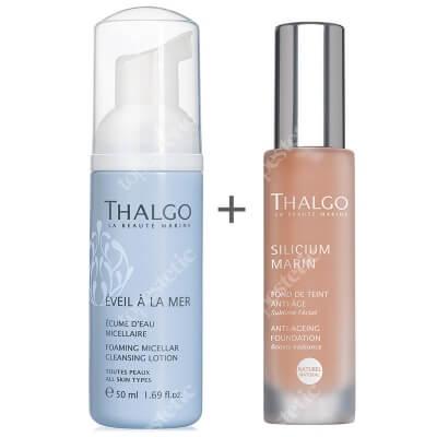 Thalgo Anti Ageing Foundation + Foaming Micellar Cleansing Lotion ZESTAW Podkład przeciwzmarszczkowy - kolor Naturel 30 ml + Morska pianka oczyszczająca 50 ml