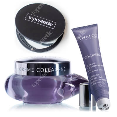 Thalgo Collagen Eye Roll On + Collagen Cream ZESTAW Żel z kolagenem do pielęgnacji okolic oczu 15 ml + Krem kolagenowy 50 ml + Lusterko Topestetic