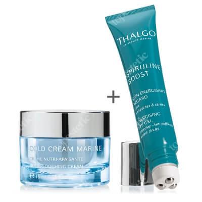 Thalgo Energising Eye Gel + Nutri Soothing Cream ZESTAW Żel roll-on do pielęgnacji skóry wokół oczu 15 ml + Odżywczy i łagodzący krem 15 ml