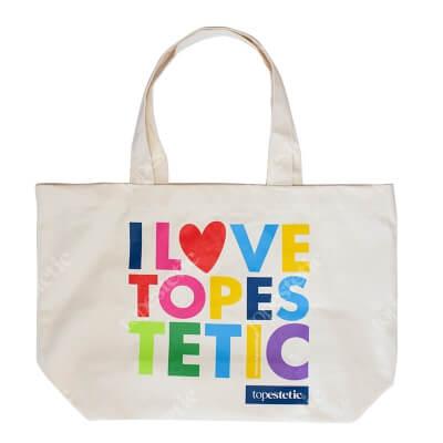 Topestetic (R) Plażowa torba I Love Topestetic Materiałowa Duża (kolor naturalny )