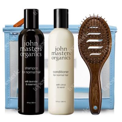 John Masters Organics Włosy Normalne (częste mycie) ZESTAW Odżywka 236 ml + Szampon 236 ml + Szczotka + Kosmetyczka