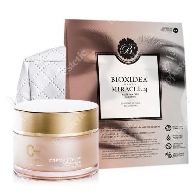 topmedica Crema Forte Vitamina C + Miracle 24 Face Mask + Kosmetyczka ZESTAW Krem Forte z Witaminą C 50 ml + Maska na twarz dla kobiet 3 szt. + Kosmetyczka