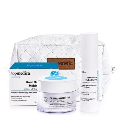 topmedica Crema Nutritiva Multiactiva + Contorno De Ojos Multiaccion + Kosmetyczka ZESTAW Krem Odżywczy Multiaktywny 50 ml + Kontur Oczu Multiaktywny 15 ml + Biała, pikowana kosmetyczka