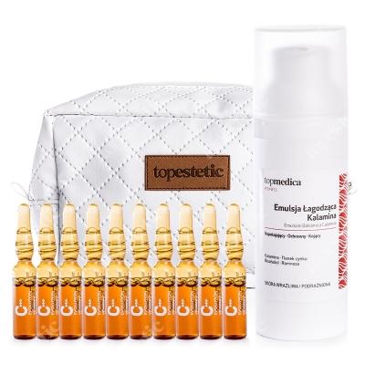 topmedica Emulsion Balsamica Calamina + Vitamina C - Resveratrol + Kosmetyczka ZESTAW Emulsja Łagodząca Kalamina 50 ml + Witamina C - Resweratrol 10 x 2ml + Kosmetyczka