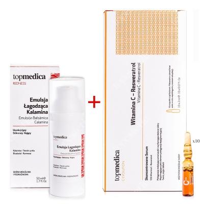 topmedica Emulsion Balsamica Calamina + Vitamina C - Resveratrol ZESTAW Emulsja Łagodząca Kalamina 50 ml + Witamina C - Resweratrol 10 x 2ml
