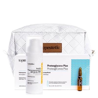 topmedica Proteoglycans Plus + Emulsion Antiedad SPF50 Oil Free + Kosmetyczka ZESTAW Proteoglicanos Plus 30 x 2 ml + Emulsja przeciwzmarszczkowa SPF 50 50ml + Biała, pikowana kosmetyczka